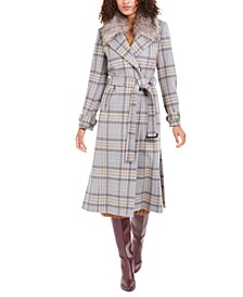 Belted Faux-Fur-Collar Plaid Maxi Coat