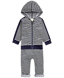 First Impressions Baby Boys 2-Pc. Striped Velour Hoodie & Pants Set, Created For Macy's