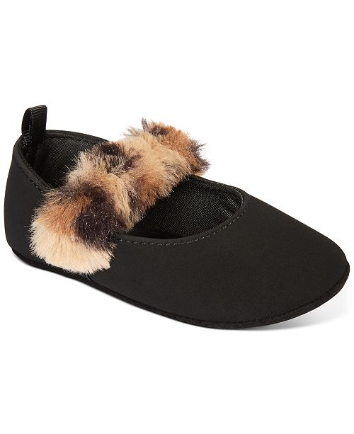 First Impressions Baby Girls Faux-Fur Strap Flat, Created For Macy's