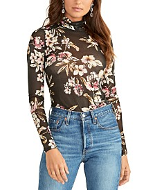 RACHEL Rachel Roy Floral Print Turtleneck Top