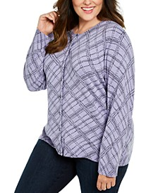 Plus Size Button-Front Print Cardigan, Created For Macy's
