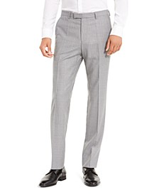 Men's Slim-Fit Medium Gray Stripe Suit Separate Pants