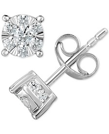TruMiracle®  Diamond (1/2 to 1 ct. t.w.) Stud Earrings in 14k White Gold