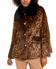 Kate Spade New York Leopard-Print Faux-Fur Coat