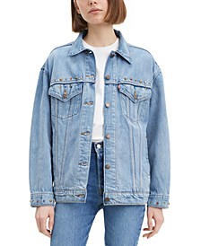 Baggy Trucker Embellished Cotton Denim Jacket