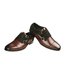 Men's Leather and Suede Double Monk Strap