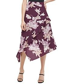 Floral-Print Asymmetrical Skirt