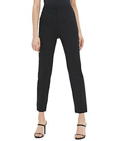 Faux-Leather Tuxedo-Stripe Pants