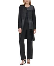 Calvin Klein Collarless Mixed-Media Coat