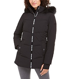 Active Hooded Faux-Fur-Trim Puffer Coat