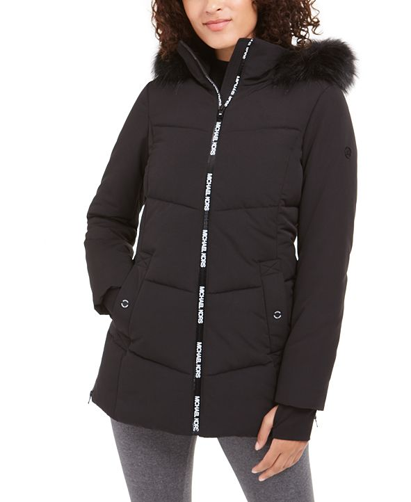 Michael Kors Active Hooded Faux-Fur-Trim Puffer Coat ...