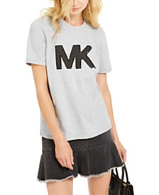 Michael Michael Kors Cotton Sequined Logo T-Shirt, Regular & Petite Sizes, Created for Macy's