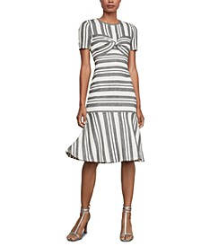 Striped Twist-Front Sheath Dress