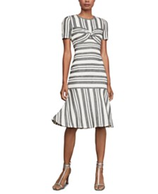 BCBGMAXAZRIA Striped Twist-Front Sheath Dress