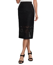 BCBGMAXAZRIA Floral-Lace Pencil Skirt