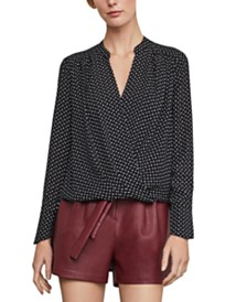 BCBGMAXAZRIA High-Low Faux-Wrap Top