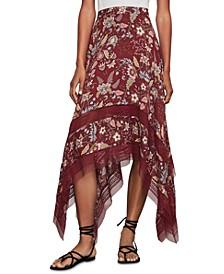 Floral-Print Handkerchief-Hem Skirt