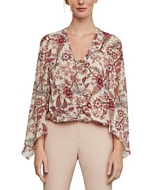 BCBGMAXAZRIA Floral-Print High-Low Top