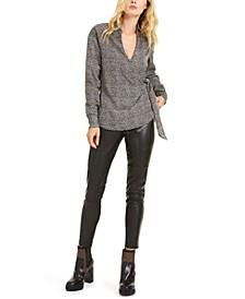 Leopard-Print Tie-Waist Top & Faux-Leather Moto Leggings
