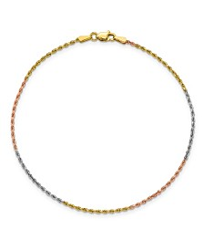 Rope Chain Anklet in 14k Yellow, Rose and White Gold