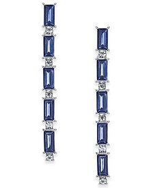 INC Silver-Tone Crystal & Baguette-Stone Linear Drop Earrings, Created For Macy's