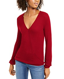 INC Surplice Ribbed Top, Created For Macy's