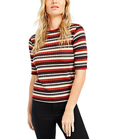 Maison Jules Striped Ribbed Top, Created For Macy's