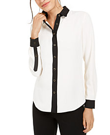 Anne Klein Contrast-Trim Shirt