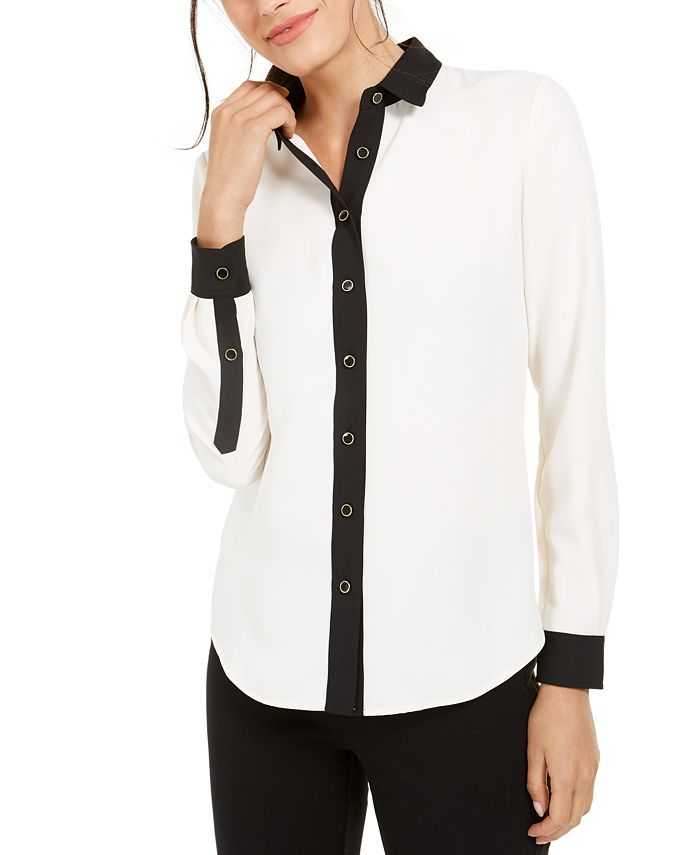 Anne Klein - Plus Size Contrast-Trim Blouse