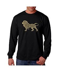 Men's Word Art Long Sleeve T-Shirt- Lion