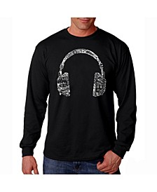 Men's Word Art Long Sleeve T-Shirt- Headphones - Music In Different Languages