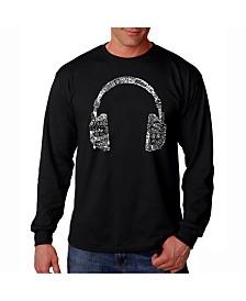 LA Pop Art Men's Word Art Long Sleeve T-Shirt- Headphones - Music In Different Languages