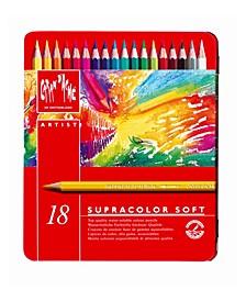 Supracolor Soft Watercolor Pencils in A Durable Metal Box, 18 Color Assortment
