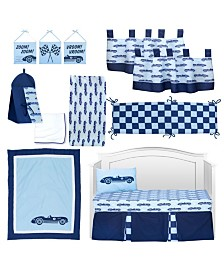 Pam Grace Creations Vintage Like Race cars 13 Piece Crib Bedding Set