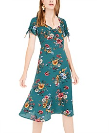 Juniors' Floral-Print Ruched Dress