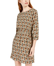 Juniors' Belted Printed Dress