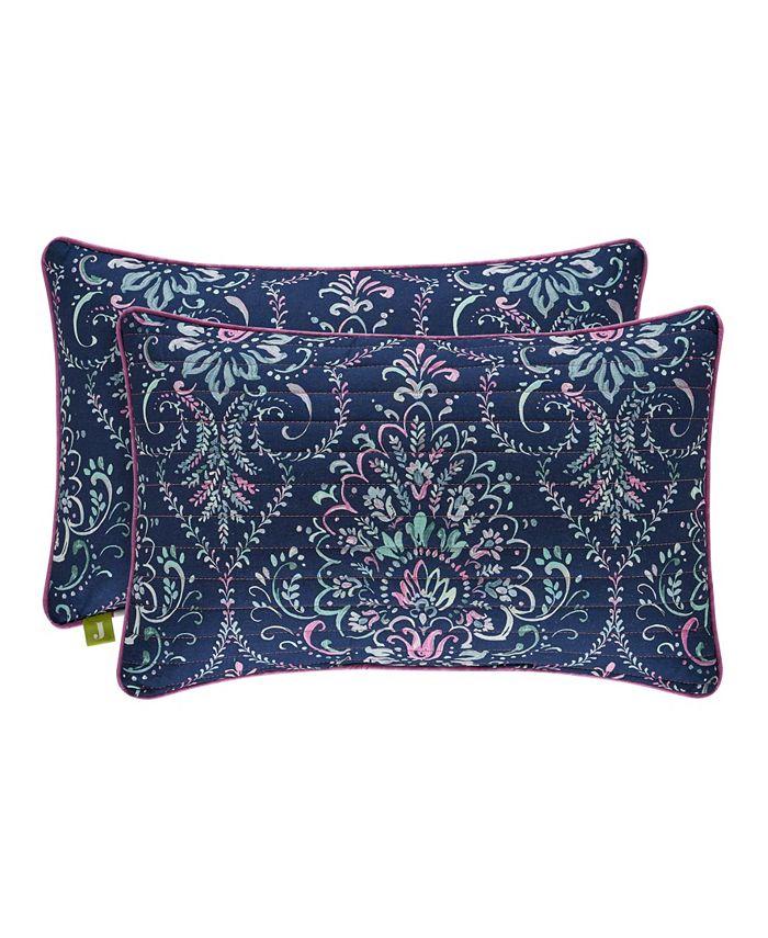 J Queen New York - Kayani Indigo Quilted Boudoir Decorative Throw Pillow