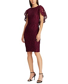 Lauren Ralph Lauren Cape-Overlay Lace Dress, Created For Macy's