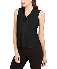 Sleeveless Tie-Neck Blouse