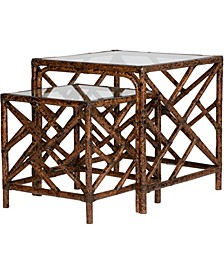 Chippendale Indoor Rattan Nesting Tables Set of 2