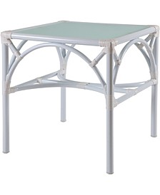 Chippendale Outdoor End Table with Tempered Glass