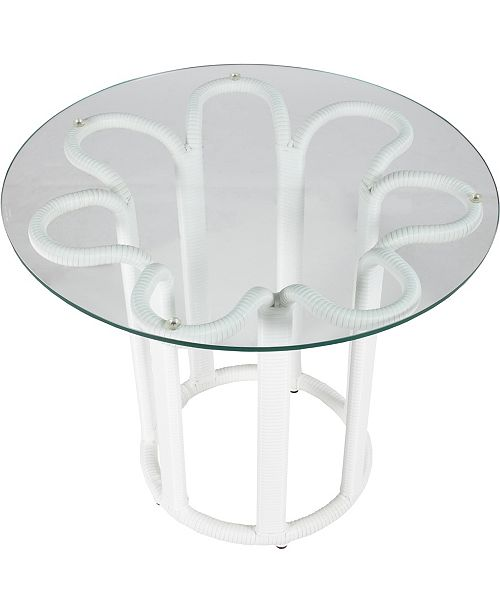 David Francis Furniture Calla Outdoor Side Table with Tempered Glass