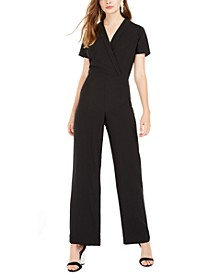 Juniors' Lapel Wrap Jumpsuit