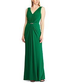 Rhinestone-Pin Georgette-Jersey Gown, Created For Macy's