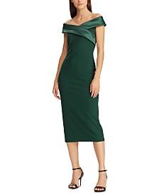 Lauren Ralph Lauren Satin-Collar Cocktail Dress, Created For Macy's