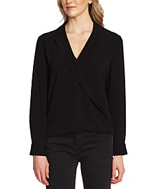 Notch-Collar Faux-Wrap Top