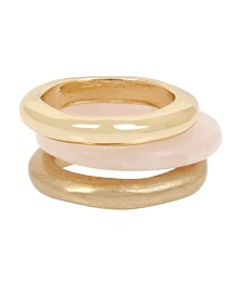 Robert Lee Morris Soho Mixed Rose Quartz Stackable Ring Set