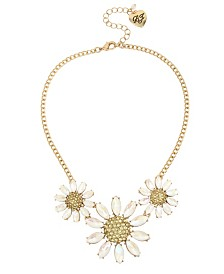 Betsey Johnson Pave Daisy Flower Frontal Necklace