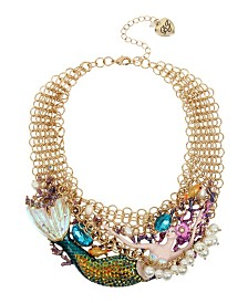 Betsey Johnson Mermaid Pearl Statement Frontal Necklace