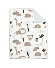Baby's First by Nemcor Baby Blanket, Blue Printed Jungle Animal